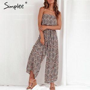 Simplee | Leopard Print Jumpsuit Sz M NWT
